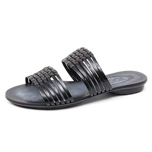 B4518 sandalo donna TODS scarpa ciabatta nera sandal shoe woman Nero