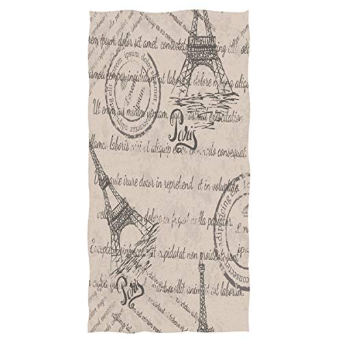 (Wamika Eiffel Tower Large Hand Towels Retro Stamps Pattern Towel Ultra Soft Highly Absorbent Multipurpose Bathroom Towel for Hand,Face,Gym,Sports and Spa Home Decor, 16x30 in)