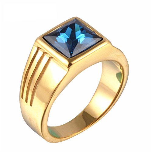 PMTIER Men's Stainless Steel Square Blue Gemstone Ring (Gold) Size 9