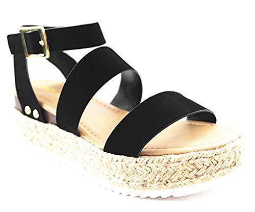 SODA Women's Open Toe Ankle Strap Espadrille Sandal (7 M US, Black-Bryce)