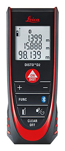 Leica DISTO D2 New 100m/330ft Metric Imperial Laser Distance Measure with Bluetooth 4.0 - Black/Red