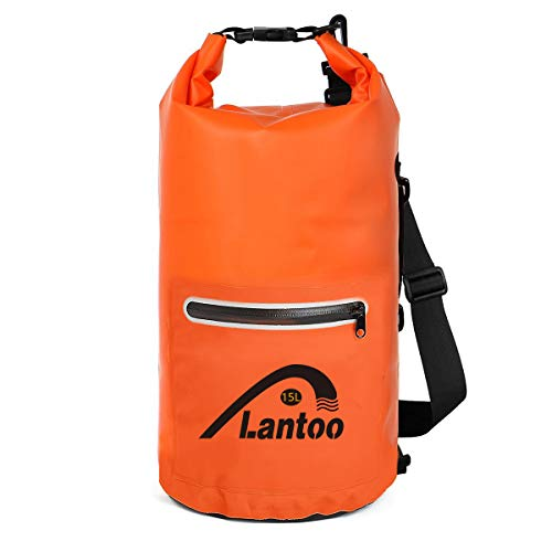Waterproof Dry Bag Sack, Lantoo 15L Floating Compression Roll Top Dry Sack Backpack w/ 2 Zipper Pockets, Detachable Shoulder Strap, Keep Gear Dry for Kayaking, Rafting, Boating, Hiking,Camping,Fishing by Lantoo