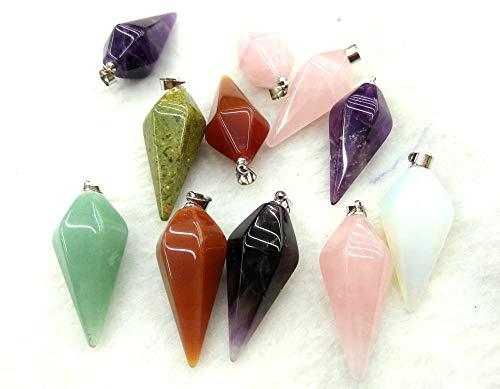 - Bulk 6pcs-Gemstone Pink Quartz -Opal-Amethyst-Mookaite Facted Long Olive -Drop-Teardrop Pendant with Bail 12x25mm