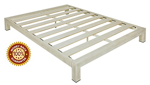 In Style Furnishings Stella Modern Metal Low Profile Thick Slats Support Platform Bed Frame - King Size, Brushed White