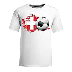 Custom Mens Cotton Short Sleeve Round Neck T-shirt,2014 Brazil FIFA World Cup spain soccer ball navy