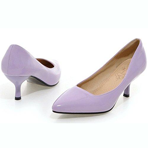 Aisun Womens Simple À La Mode Pointu Orteil Coupe Basse Robe Slip Sur Stiletto Kitten Talons Pompes Parti Chaussures De Mariage Violet