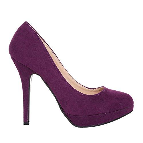 Follow 40 purple Fmuk Suede Col Scarpe Me Tacco Donna Eve Viola rqwCr8xB