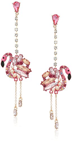 Betsey Johnson Critters Flamingo Linear Drop Earrings, Pink, One Size