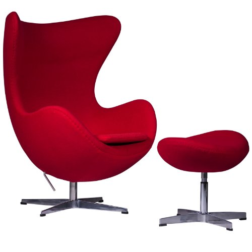 LeisureMod Arne Jacobsen Egg Chair & Ottoman in Red Wool