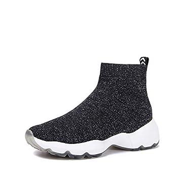 Shukun Botines Calcetines Zapatos Botines de Mujer Personalidad Suelas Gruesas Zapatillas Altas Botas elásticas de Punto: Amazon.es: Deportes y aire libre