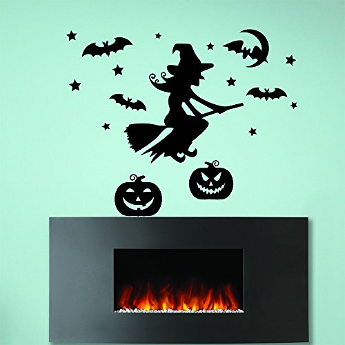 Witch Broom Pumpkin (Wall Decals Halloween Witch On Broom Pumpkin Bat Horror Attributes Holiday Decor Kids Panic Room Bedroom Window Home Stickers Murals)