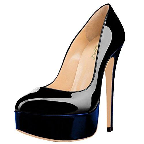 Chaussures Compensées Und Aooar Königsblau lackleder Femme Schwarz SUdqg55nw7