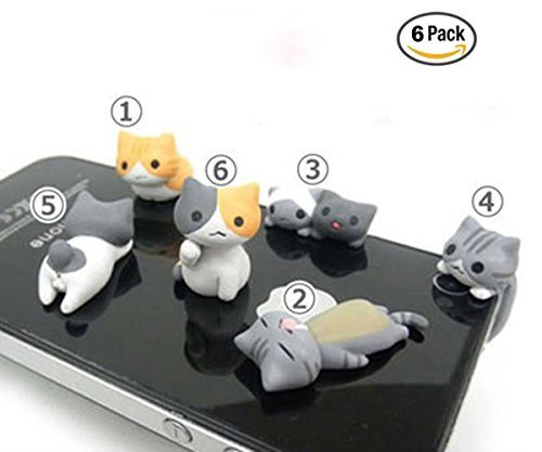 Cute Cell Phone Charm - OKOK 6 Pcs Cute Cat Dust Plug Stopper Universal 3.5mm Anti Dust Earphone Jack Plug Cap for for iPhone, Samsung, HTC, More Phones and Tablets