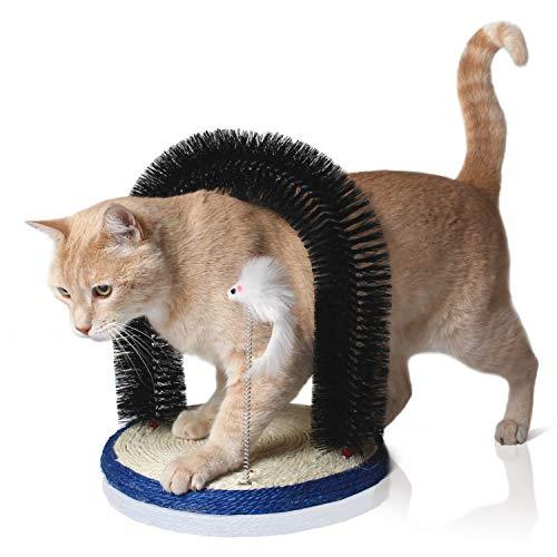 Bella & Balu Katzenbogen inkl.Katzenspielzeug – Massagebogen für Katzen mit Kratzbürste und integriertem Kratzbrett aus…