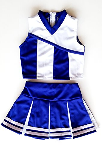 Little Girls' Cheerleader Cheerleading Outfit Uniform Costume Cosplay Blue/White (M / 5-8) Childs Cheerleader Outfit