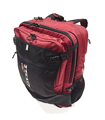 GYST BP1-18 Water repellent Fabric and Reverse Mounted Backpack, Black/Red by GYST