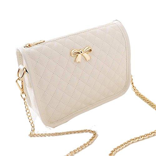 Minetom Ledertasche Damen Bowknot umhängetasche Handtasche Satchel Messenger Purse Tasche 5 Farben ( Beige )