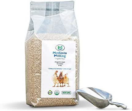 Modesto Milling Organic, Non-GMO Layer Crumbles for Chickens, Formulated Without Corn or Soy, 10lbs; Item# 952