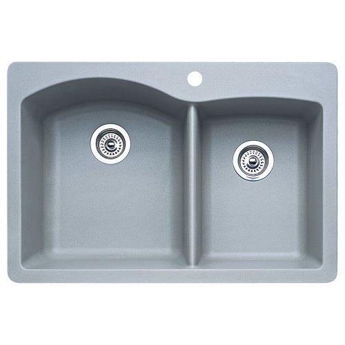 Blanco 440214 Diamond 1-3/4 Bowl Kitchen Sink, Metallic Gray (Blanco Granite Finish)