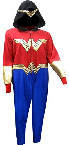 Underboss Unisex Adult Wonder Woman Union Suit Pajama With Drop Seat, X-Large