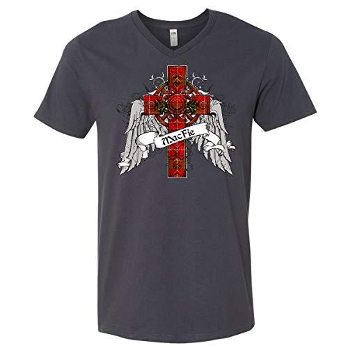 - inktastic - MacFie Tartan Cross Men's V-Neck T-Shirt X-Large Charcoal Grey 2338f
