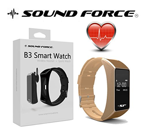 Sound Force Fitness Tracker Heart Rate Monitor Smart Watch Bluetooth Talk Band B3-Intelligent - Activity - Monitoring - For Men-Women - Android - Apple - Wireless, Ear Piece With Comfortable Fit