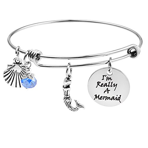 MJartoria I'm Really a Mermaid Engraved Expandable Wire Charm Bangle Bracelet for Women Girls Best Friend Valentine's Day Birthday Gifts