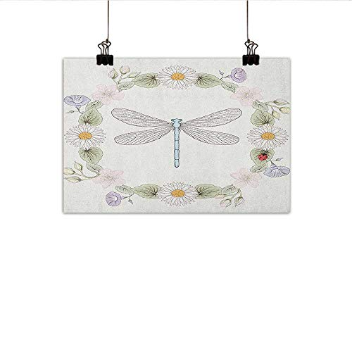 "Littletonhome Dragonfly Modern Oil Paintings Vintage Retro Farm Life Inspired Moth with Daisies Lilies Leaves Image Canvas Wall Art 35""x31"" Lilac Green"