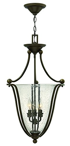 Hinkley 4663OB-CL Transitional Three Light Inverted Pendant from Bolla collection in Bronze/Darkfinish,