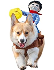 NACOCO Cowboy Rider Dog Costume for Dogs Clothes Knight Style with Doll and Hat for Halloween Day Pet Costume (S)