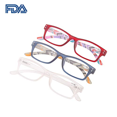 Reading Glasses Woman 3 Pairs Flexible Frame 360° Clarity Lens Plastic Readers Fashion Colors Magnification (+1.50)
