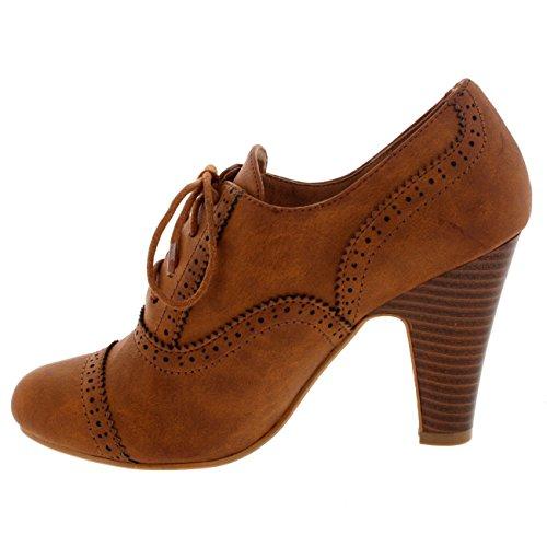 Bronceado Abarcas Talones Cordones Mujer Zapatos Jane Tobillo Mary Bota Trabajo ECEqxz4