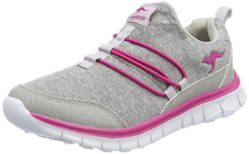 KangaROOS Unisex-Erwachsene K-Run Slip Sneaker, Grau (Vapor Grey/Magenta Flower), 41 EU