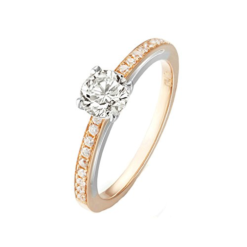 18K Gold Ring(Au750),0.42Ct Round Diamond Two Color Ring Wedding Engagement Ring for Women Bride Size 9.5 by Epinki