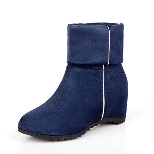 AmoonyFashion Womens Closed Round Toe Kitten Heels Imitated Suede Solid Boots with Heighten Inside Blue