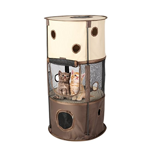 Cat Tree,OUTAD Cat Condo Cat Tunnel Cat Tower Cat Toys Playhouse Indoor Cardboard Cat House Furniture Cat Scratching Posts