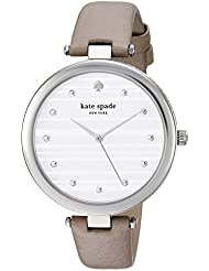 kate spade new york Womens Varick Quartz Stainless Steel and Leather Casual Watch, Color:Grey (Model: KSW1371)