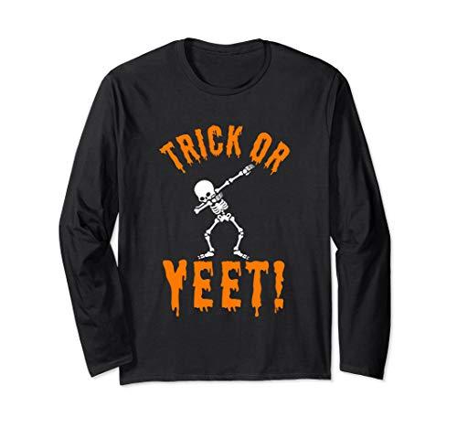 Halloween Trick Yeet Quote Dabbing Skeleton Clip Art Funny Long Sleeve T-Shirt