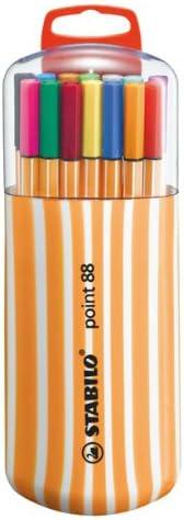 Rotulador punta fina STABILO point 88 - Estuche premium Zebrui con 20 colores: Amazon.es: Oficina y papelería