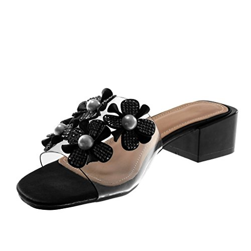 Angkorly Damen Schuhe Sandalen Pumpe - Slip-On - Transparent - Blumen - Perle Blockabsatz High Heel 4 cm Schwarz