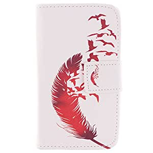 Yakamoz PU Leather Floating Red Feather Flip Wallet Card Slots Stand Case Cover for Nokia Lumia 530 with Free Screen Protector & Stylus Pen