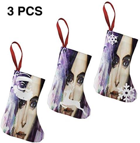 クリスマスの日の靴下 (ソックス3個)クリスマスデコレーションソックス テレビシリーズJessica Jones クリスマス、ハロウィン 家庭用、ショッピングモール用、お祝いの雰囲気を加える 人気を高める、販売、プロモーション、年次式