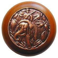 "All Creatures 1.5"" Round Knob Finish: Antique Copper / Cherry Wood"