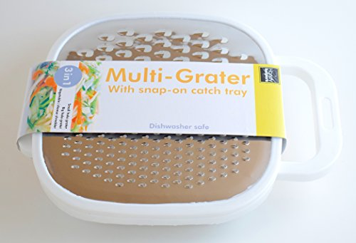- 3 in 1 Cheese Grater Set with container/Ideal stainless steel grater for all kitchen use including;Vegetable Slicer,Cheese Graters,Fruit,Spiralizer,Peeler,Grater,Shredder,Julienne,zester, etc (White)