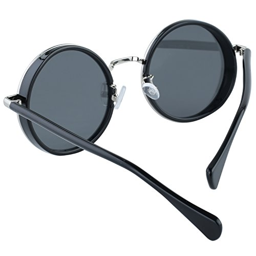Protection Soleil Lunettes Duco Uv400 Cosplay Miroir De Cyber Steampunk Argenté Style Effet Rondes W004 HSZxUHqwn