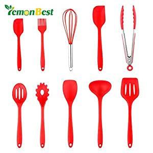 LemonBest New Arrival FDA Passed 10pcs Silicone Kitchen Utensil Set Cooking Baking Tool Set Heat Resistant