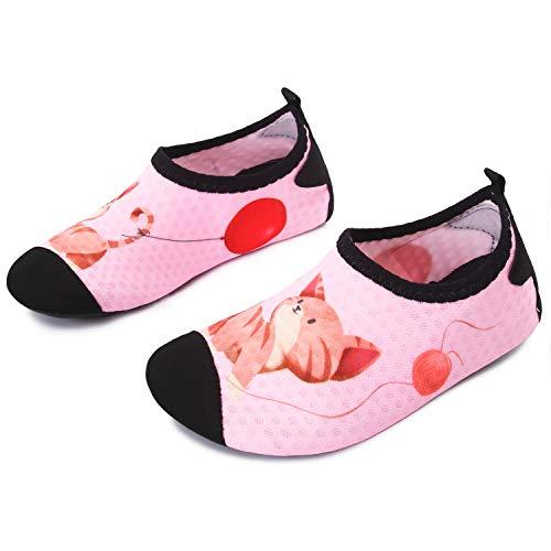 L-RUN Kids Water Shoes Quick Dry Beach Swim Shoes for Pool Pink 12.5-13=EU30-31