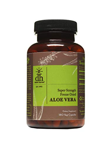 Desert Harvest Super-Strength 100% Organic Aloe Vera Supplement (180 Capsules), 600 milligrams containing 200 milligrams Active Ingredients Each. Interstitial Cystitis & Painful Bladder Relief
