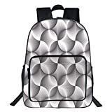 """Black and White School Bookbag,Half Toned Abstract Circles Wavy Lines Modern Technology Themed Tile Decorative For Teens Girls Boys,11.8""""L x6.3""""Wx15.7""""H"""