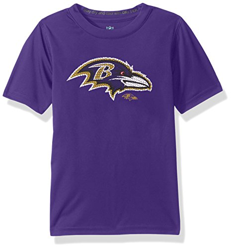 - NFL Youth Boys Defragment Performance Short Sleeve Tee-Purple-M(10-12), Baltimore Ravens